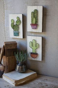 set of 3 cactus string art on wooden plaques The cactus trend isn't going anywhere! With this set of string art cacti on wooden plaques, we added a new spin on it. The plaques can be hung on the wall but are also thick enough to be able to sit alone Cute Crafts, Diy And Crafts, Arts And Crafts, String Art Diy, String Crafts, String Art Tutorials, Decoration Cactus, Cactus Care, Cactus Cactus