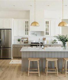 Gold Kitchen, Kitchen Pendants, Home Decor Kitchen, New Kitchen, Home Kitchens, Kitchen Dining, Taupe Kitchen Cabinets, Kitchen With An Island, Kitchen Island Stools