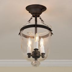 Mini Smokebell Semi-Flush Ceiling Lantern - 4 Finishes   Get the classic smokebell look for low ceilings with this semi-flush ceiling light in 4 fantastic finishes (Bronze, Pewter, Antique Brass and Polished Nickel) and choice of clear glass or star-etched glass.