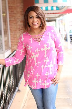 41ccb939717 One Faith Boutique - Be The Light Tunic With Criss-Cross Neck ~ Pink ~