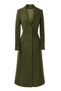 Classic long tweed coat  In a Dark Green Tweed with Turquoise check
