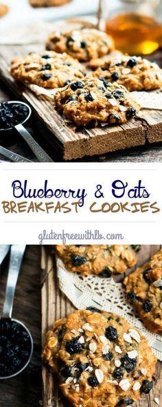 Blueberry & Oats Breakfast Cookies | A gluten free, healthy blueberry oatmeal breakfast cookie that can be eaten for a snack or dessert!
