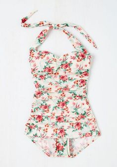 Never Been Better One-Piece Swimsuit in Floral   Mod Retro Vintage Bathing Suits   ModCloth.com