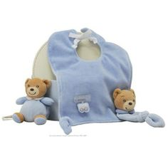 Kaloo Blue Bib Set with Mini Doudou by Kaloo. $29.95. Kaloo Blue Bib with Doudou is made of luxurious velour fabric. Baby can play with adorable mini doudou that attaches to the corner of the bib. In addition to the specialty bib, there's a blue mini bear that ties onto anything belonging to baby.