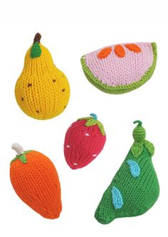 Fruit & Veggies, 100% cotton knit rattles, $50 at BlaBlaKids.com
