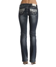 Love this Blue Embroidered-Trim Bootcut Jeans on #zulily! #zulilyfinds