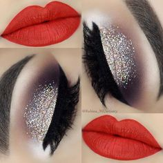 Christmas makeup looks exceptional whether it is subtle or very bright. Check out our 48 holiday makeup ideas and choose the one that works best for you. Red Lipstick Makeup, Glitter Eye Makeup, Eyeshadow Makeup, Glitter Lipstick, Glitter Face, Silver Glitter, Christmas Makeup Look, Holiday Makeup, Makeup Tips