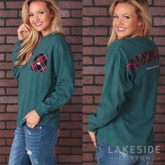 Rebecca Tartan Jersey in Dark Green Lakeside Cotton, Marley Lilly, Southern Marsh, Monogram Gifts, Tartan, Fall Outfits, Style Me, Rain Jacket, Windbreaker