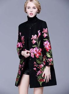 Sleeve Round Neck Buttons Duffle Coats - Floryday @ , Long Sleeve Round Neck Buttons Duffle Coats - Floryday @ , Long Sleeve Round Neck Buttons Duffle Coats - Floryday @ , Button Up Embroidered Coat - BLACK M Louis Vuitton Spring/Summer 2018 Ready To Wear Floral Fashion, Boho Fashion, Winter Fashion, Womens Fashion, Hijab Fashion, Fashion Dresses, Moda Floral, Mode Abaya, Coats For Women