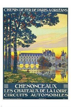 LOIRE VALLEY CASTLES FRANCE vintage train travel poster PRIZED NEW GEM 24X36
