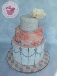 Old pink and grey wedding cake - Cake by Jana