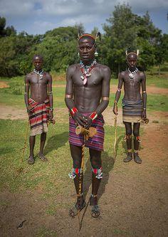 Bana Tribe Whipper Men, Key Afer, Omo Valley, Ethiopia