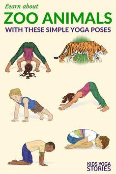 Talk about zoo animals while practicing animal yoga poses! A great gross motor activity to add to any zoo unit! Preschool Zoo Theme, Preschool Yoga, Jungle Theme Activities, Preschool Crafts, The Zoo, Yoga Positionen, Yoga Meditation, Kid Yoga, Kundalini Yoga