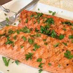 Wild salmon , grilled with cilantro