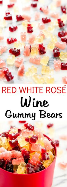 Gummy Bears Red, White and Rosé Wine Gummy Bears. Great for a party or for make-ahead food gifts.Red, White and Rosé Wine Gummy Bears. Great for a party or for make-ahead food gifts. Candy Recipes, Wine Recipes, Dessert Recipes, Cooking Recipes, Wine Tasting Party, Wine Parties, Yummy Drinks, Yummy Food, Wine Flavors