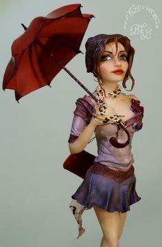 """Прогулка под дождём..."" Сахарная фигурка из моделпаст."