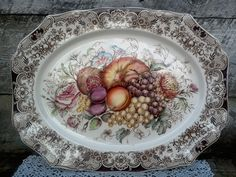 """Johnson Brothers Windsor Ware """"HARVEST FRUIT"""" Platter, English Transferware, Holiday, English Transferware, Ironstone, Oval by CottonCreekCottage on Etsy"""