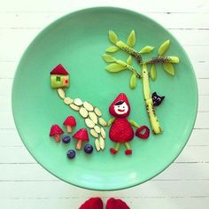 50+ Kids Food Art Lunches - Little Red Strawberry Riding in the Hood