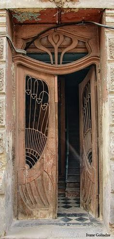 Art Nouveau old door in Rome Street, Tbilisi - By Ivane Goliadze Art Nouveau Architecture, Organic Architecture, Architecture Details, Grand Entrance, Entrance Doors, Doorway, Cool Doors, Unique Doors, Knobs And Knockers