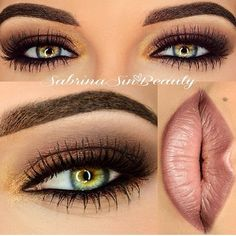 Smokey brown eye shadow makes green eyes stand out
