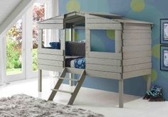 Create a statement in son or daughter's dream room with our whimsical tree house low loft beds for kids in gray. This charming bed is designed to inspire creative play and dreamy nights! This twin siz