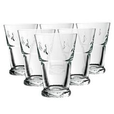 Set of six pressed glass drinking glasses with bee accents. Made in France. Product: Set of 6 glasses  Construction Material: