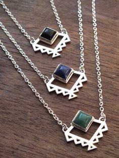 Aztec necklace - geometric tribal necklace with pyramid gemstone - sodolite, onyx, aventurine by AThousandJoys on Etsy