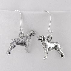 Irish Wolfhound Earrings, $64, now featured on Fab. Gemini earrings! She would look stunning in these!