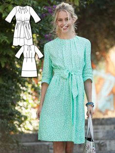 Tie Waist Dress 03/2016 #102A www.burdastyle.co...