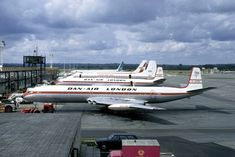 A classic Gatwick Airport line-up from with a pair of Dan-Air Comets - G-APDD and G-APDP - in front of a CAF Wardair's 707 CF-FAN and a Trans International on August British Airline, British Airports, De Havilland Comet, Manchester Airport, Gatwick Airport, Boeing 707, Airport Photos, Airplane Photography, International Airlines