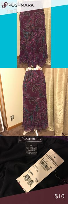 NWT ELEMENTS MAXI SKIRT Elements maxi skirt in shades of purple, with touches of real and pink. XL Element Skirts Maxi