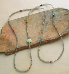 """Long Way Around Necklace (Sundance) labradorite, turquoise, carnelian, peruvian opal, apple coral, chrysoprase, ruby, and sugilite. Sterling silver clasp. USA. 50 to 51-1/2""""L.  Sale $200"""