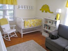 couch in the nursery is an awesome idea.