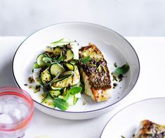 Sicilian snapper with zucchini, mint and pistachio nuts recipe - For currant and anchovy dressing, soak currants in boiling water for 5 minutes, then drain, coarsely chop and combine in a bowl with remaining ingredients and season to taste.
