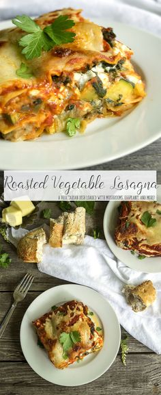 Roasted Vegetable Lasagna is one of my favorite vegetarian recipes. The mushrooms and eggplant make up for the lack of meat, and add wonderful textures to this cheese comfort food. Make a big batch for a freezer recipe!
