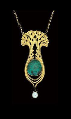 PAUL FOLLOT 1877-1941 | Art Nouveau Pendant for La Maison Moderne - Gold, Turquoise Pearl. French, c.1900.