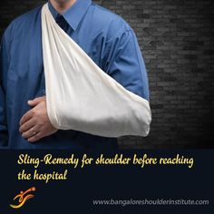 A sling may not be available at home at the time of shoulder dislocation, but you can make one by tying a long piece of cloth in a circle. Readily available items in-house like bedsheet or towel will do nicely. Shoulder Arthroscopy, Shoulder Doctor, Shoulder Dislocation, Shoulder Problem, Surgeon Doctor, Shoulder Surgery, Shoulder Sling, Arthritis, Trauma