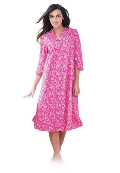 Dreams And Company Plus Size Short Floral Print Gown (Sweet Berry Floral,L) DREAMS. $21.99