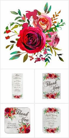 Rustic Red Rose Wedding Suite. Features painted watercolor roses in a variety of shades of red #Ad