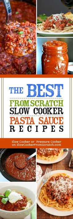Use the slow cooker to make homemade pasta sauce and you can make a sauce that fits your personal way of eating! This collection of The BEST From-Scratch Slow Cooker Pasta Sauce Recipes has lots of options for every type of diet! [found on Slow Cooker or Pressure Cooker at SlowCookerFromScratch.com] #SlowCooker #CrockPot #SlowCookerPastaSauce #CrockPotPastaSauce #SlowCookerRecipe #CrockPotRecipe