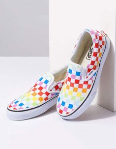 Shop Rainbow Vans at Tillys for the brightest, happiest slip-on sneaker you could add to your wardrobe. Vans Shoes Outfit, Vans Shoes Fashion, Vans Shoes Women, Vans Slip On Shoes, Custom Vans Shoes, Girls Shoes, Van Shoes, Ladies Shoes, Cool Vans Shoes