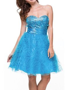 A-Line Strapless Sweetheart Neckline Tulle Home Coming Party Dress With Ruffle Sequins