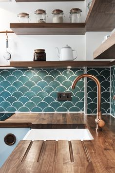 Our Alto Brushed Copper Tap sparkles in this gorgeous coastal themed kitchen. Our Alto Brushed Copper Tap sparkles in this gorgeous coastal themed kitchen. A perfect match with Kitchen Splashback Tiles, Kitchen Mixer Taps, Splashback Ideas, Kitchen Cabinets, Green Tile Backsplash, Green Tiles, Kitchen Wall Shelves, Kitchen Benchtops, Kitchen Sinks