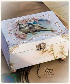 Items similar to Decoupage Box: Wooden Box - Shabby Chic - Gift boxes - Girl Jewelry Box - Love Birds Keepsake Box - Wooden Chest - Recipe box - Sewing Box. on Etsy Painted Boxes, Wooden Boxes, Hand Painted, Decoupage Box, Decoupage Vintage, Napkin Decoupage, Decoration Shabby, Shabby Chic Gifts, Girls Jewelry Box
