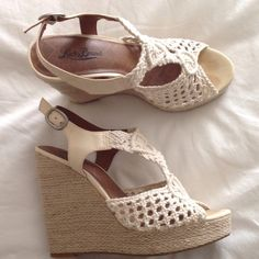 "Lucky Brand Crochet Sandals These fabulous beige Lucky Brand sandals go with just about everything! The heel height is 5"" and platform is 1"". They were worn only a few times. Lucky Brand Shoes Platforms"