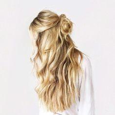 half bun + loose waves