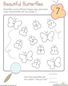 Kindergarten Counting & Numbers Color by Number Worksheets: Coloring Beautiful Butterflies Prewriting Skills, Preschool Workbooks, Kindergarten Math Worksheets, Preschool Math, Kindergarten Reading, Kindergarten Counting, Number Worksheets, Math Workbook, Printable Numbers