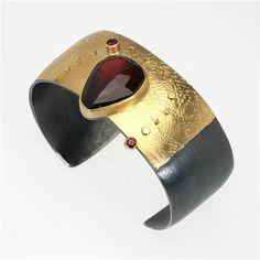 Sydney Lynch-Garnet Cuff Bracelet OOAK03 - Gold and Sterling Silver-SL-BR-SP-OOAK03
