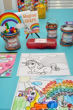 Rainbow Unicorn Art Party with SO MANY FABULOUS IDEAS via Kara's Party Ideas | KarasPartyIdeas.com | Printables, favors, cakes, games, and m...