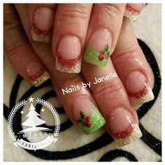 #salonchicvalleysprings #salonchicboutique #nailsbyjanelle #acrylic #acrylicnails #sparklishous #handpainted #nailart #nailporn #nailswag #lovemyjob #lovemyclients #squarenails #shortnails #clientsrock #christmasnails #hollyberry #sparklishous #redglitter #silversparkle #greensparkle